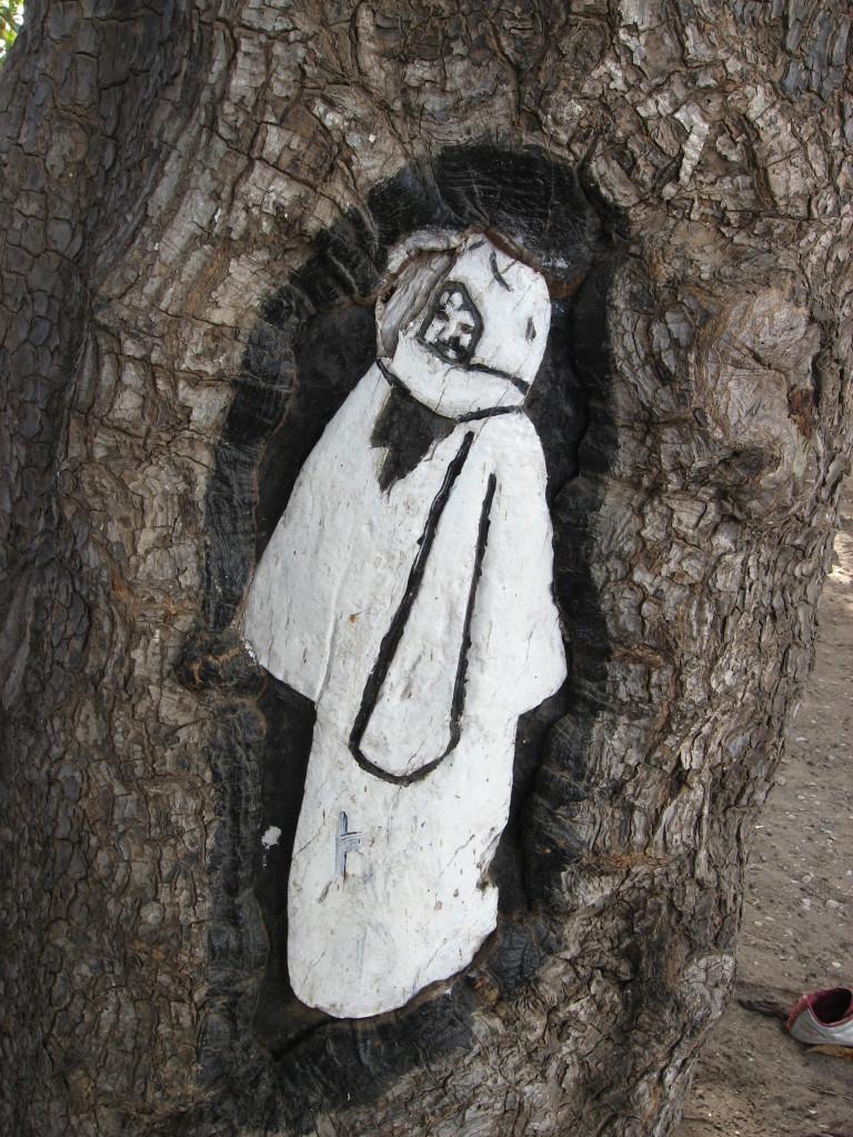 Reproducción del Cheikh Ahmadou Bamba en una corteza de árbol